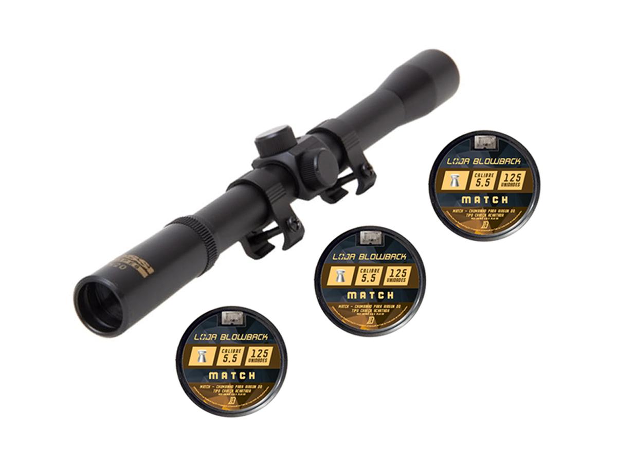 Chumbinho 5.5mm Match P/ Carabina 375un + Luneta Rossi 4x20