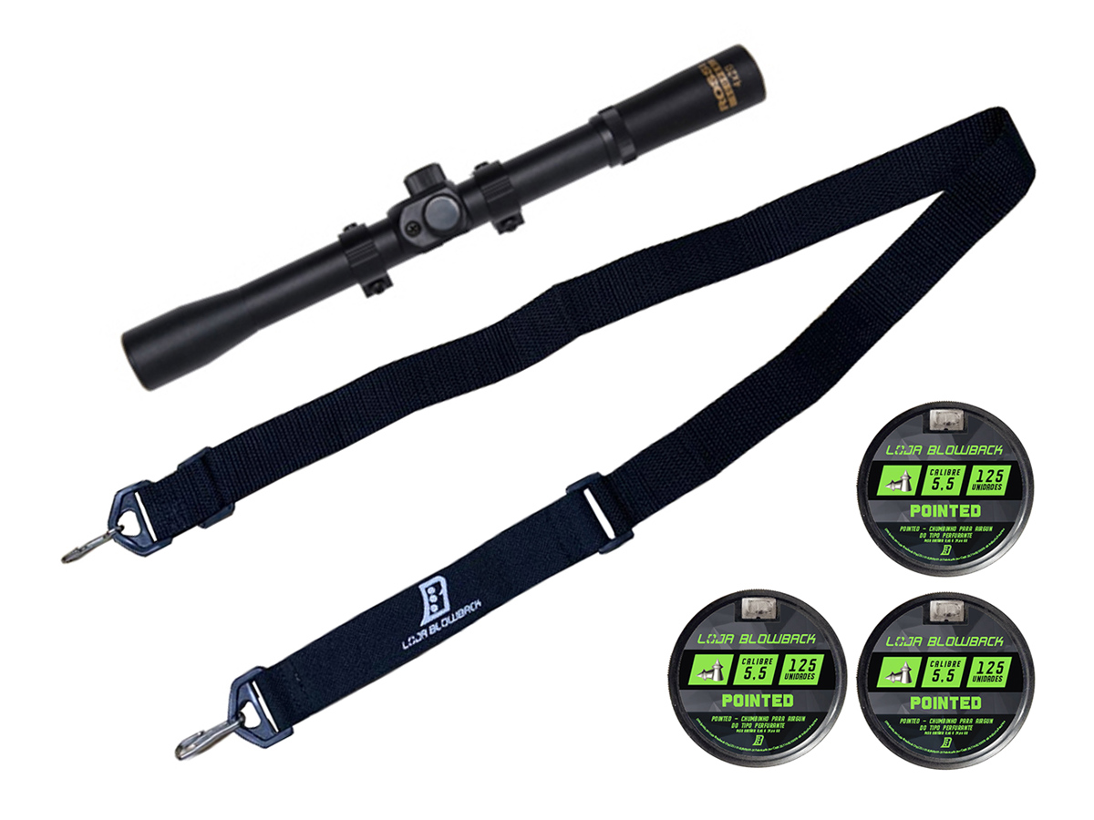 Chumbinho 5.5mm Pointed Carabina Pressão Premium 375un + Luneta 4x20 + Bandoleira