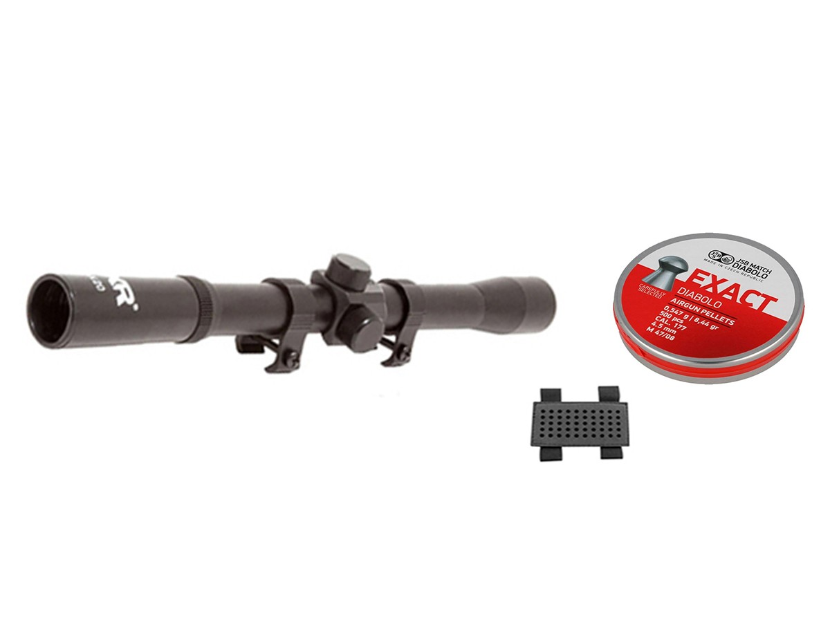 Chumbinho Jsb Exact Jumbo Beast Diabolo 4,5mm + Luneta 4x20 + Porta chumbinho