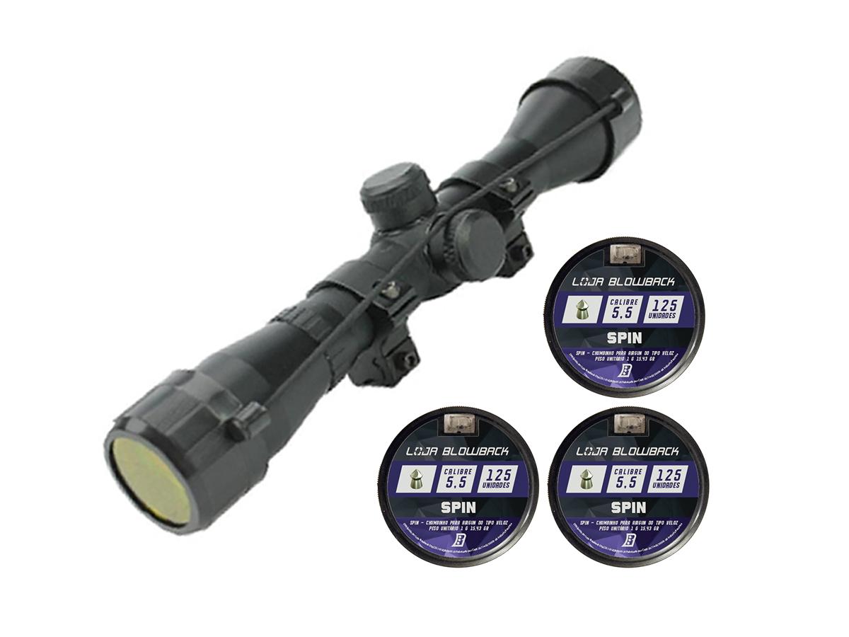 Chumbinho Spin 5.5mm Carabina 375un + Luneta Rossi 4x32