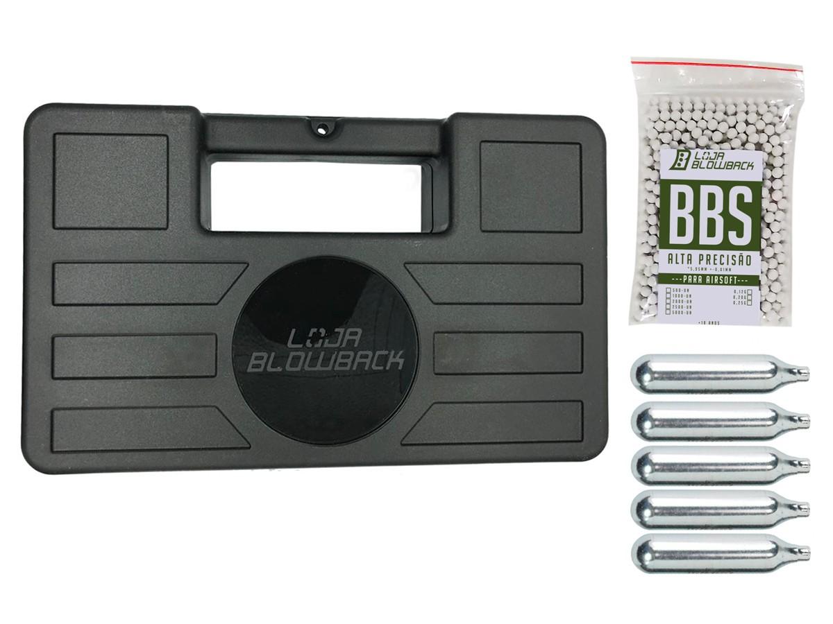 Cilindro 12g Co2 Capsula Airsoft 5 Pçs + maleta/case + Bbs
