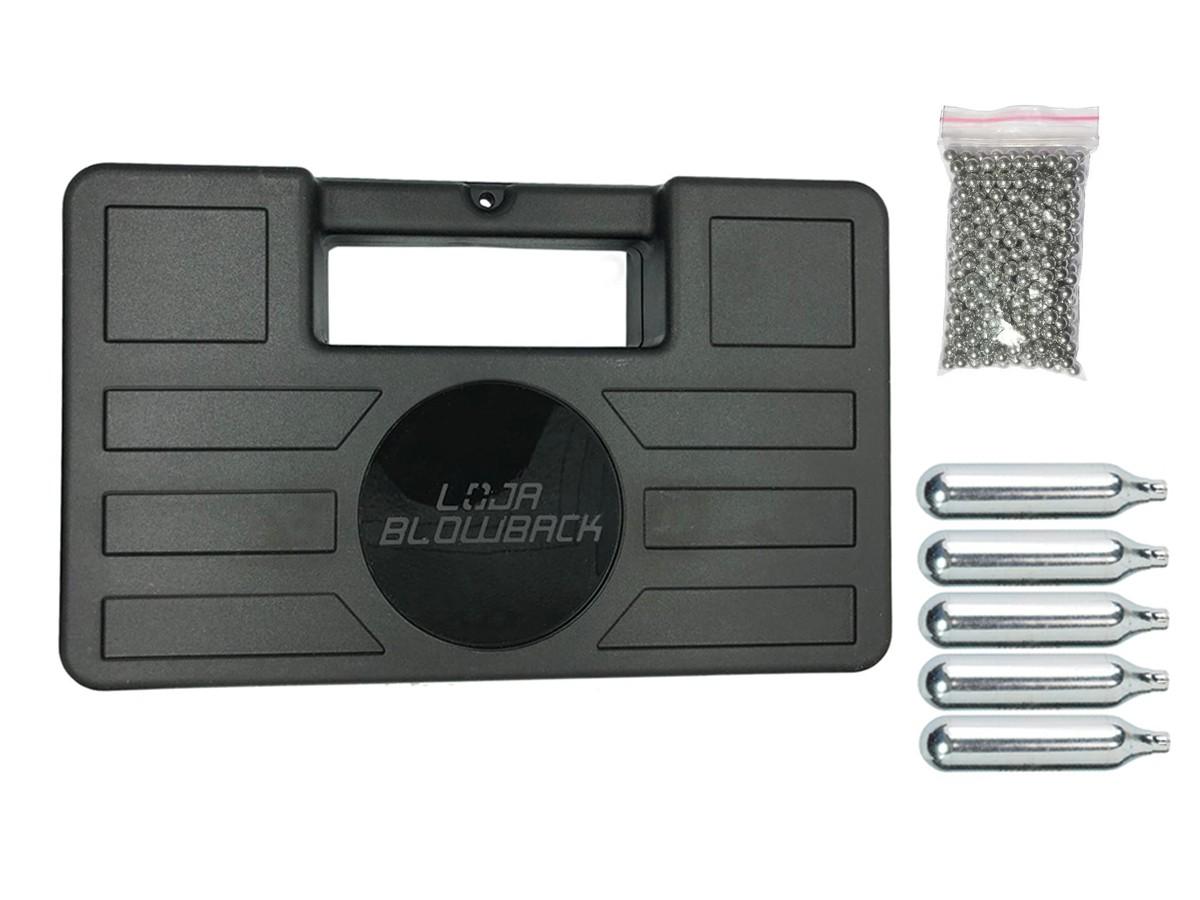 Cilindro Ampola Co2 12g + maleta case + 500 esferas de aço