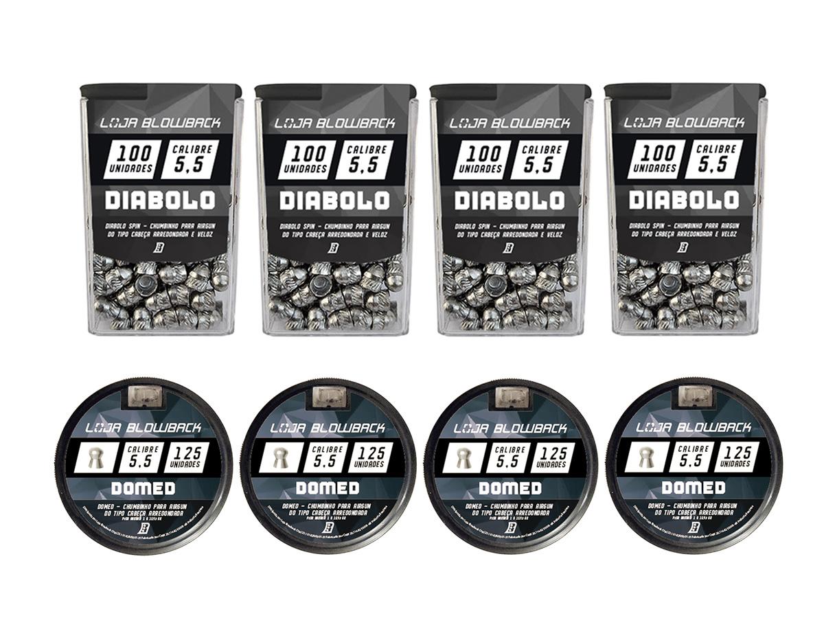 Mix Chumbinho Domed E Diabolo 5,5mm P/ Carabina Pressão K3