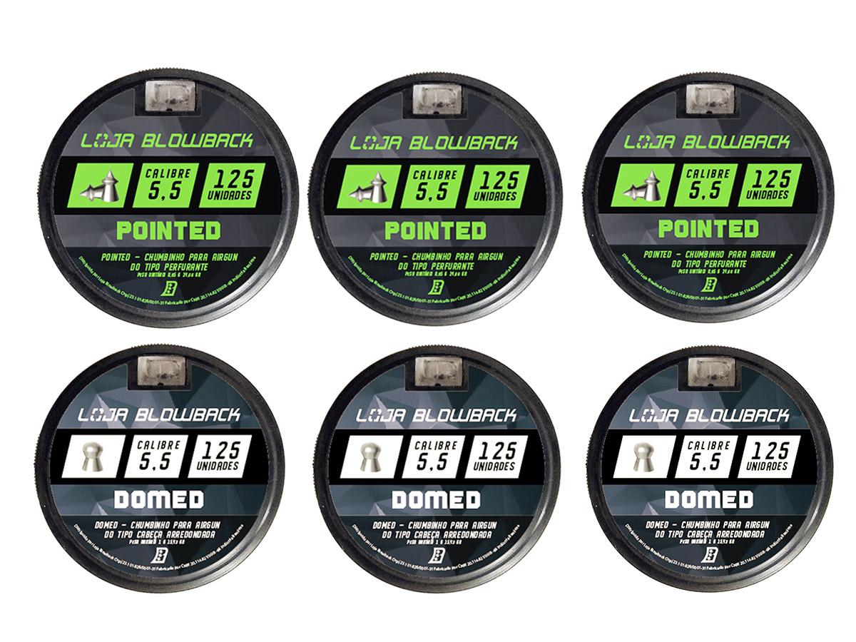 Mix Chumbinho Domed E Pointed 5,5mm P/ Carabina Pressão K2