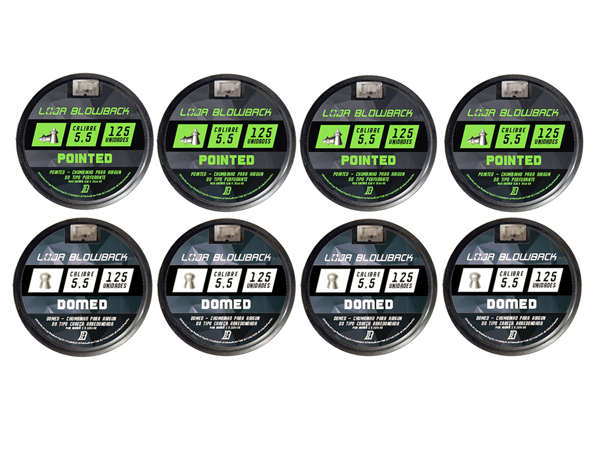Mix Chumbinho Domed E Pointed 5,5mm P/ Carabina Pressão K3