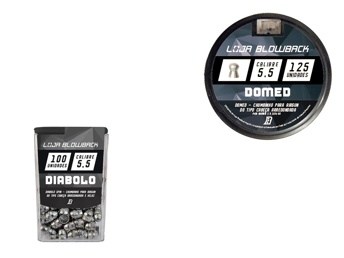 Mix De Chumbinho Domed E Diabolo 5,5mm P/ Carabina Pressão