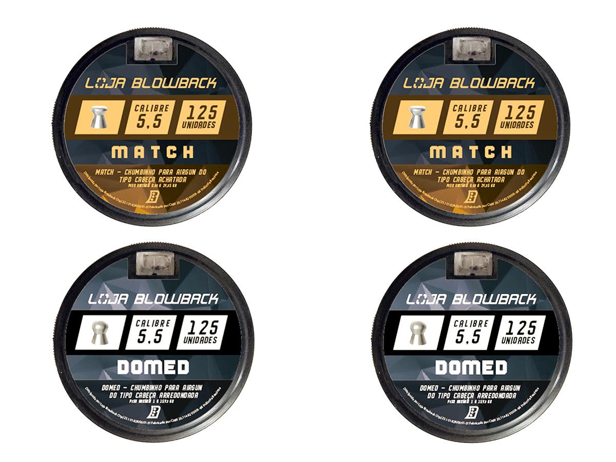 Mix De Chumbinho Domed E Match 5,5mm P/ Carabina Pressão K1