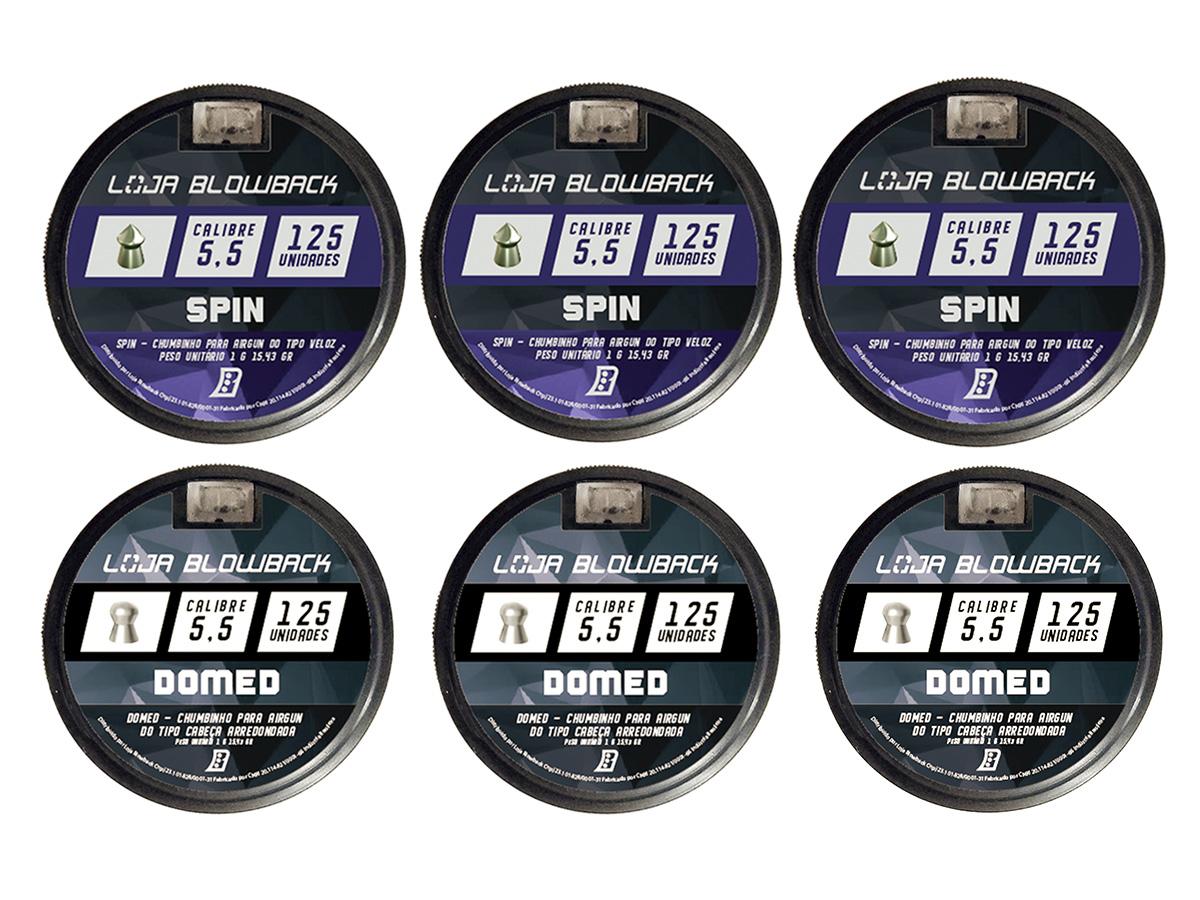 Mix De Chumbinho Domed E Spin 5,5mm P/ Carabina Pressão K2