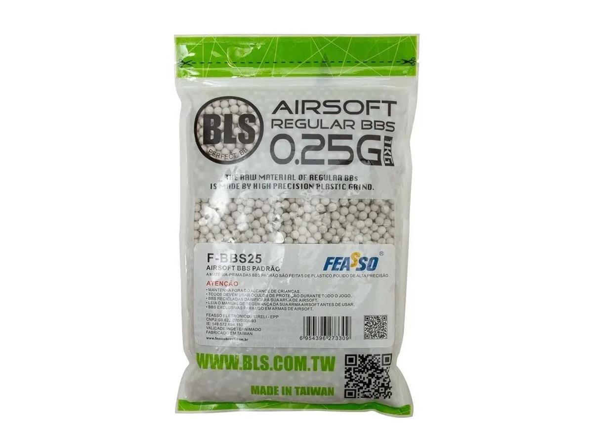 Munição Bolinha Bbs Airsoft 0,25g BLS Premium 4000un 6mm 1Kg