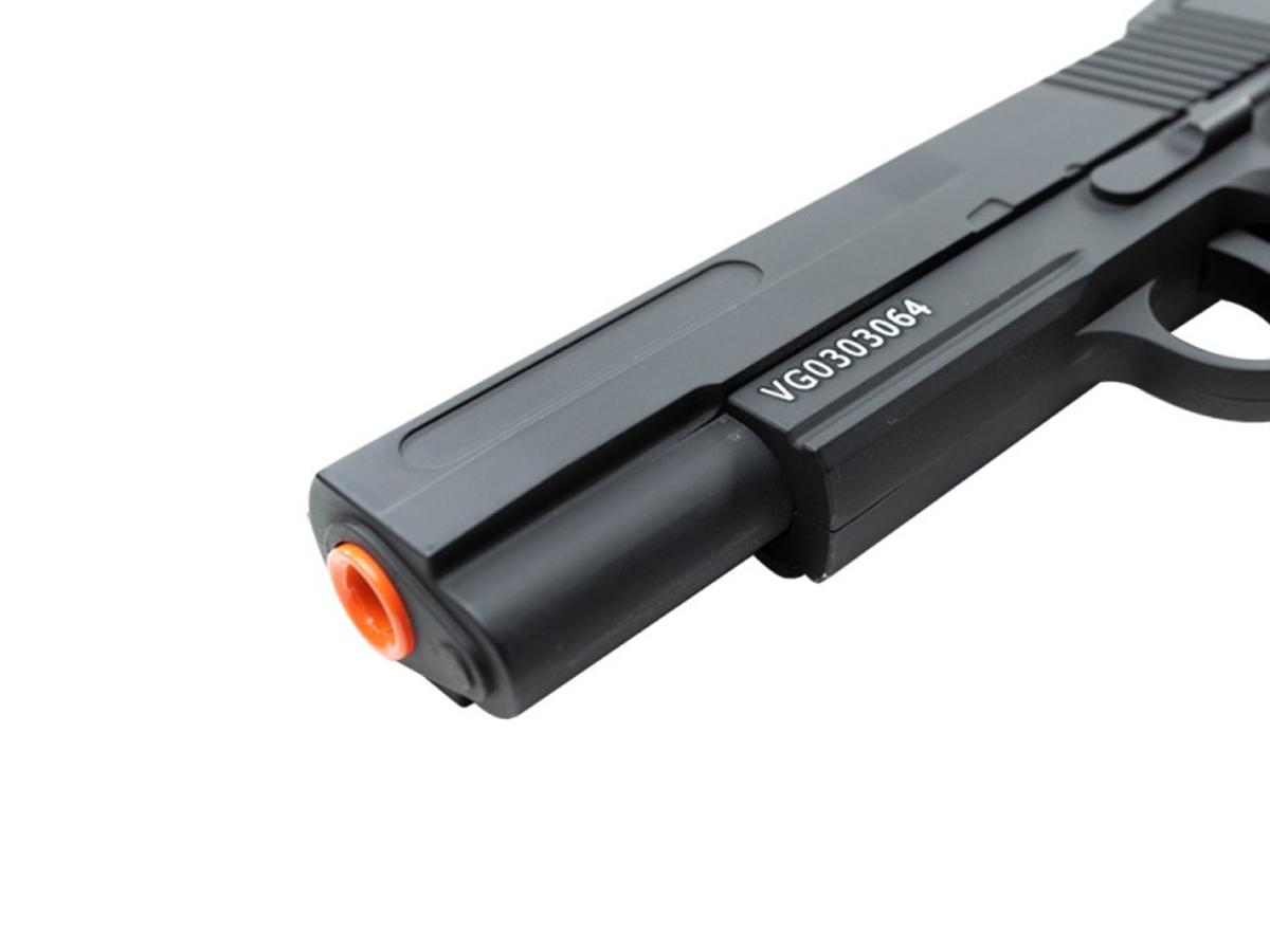 Pistola Airsoft 1911 V18 Full Metal Spring 6mm + 2000 Bbs 0,12g loja Blowback + Maleta + Coldre velado
