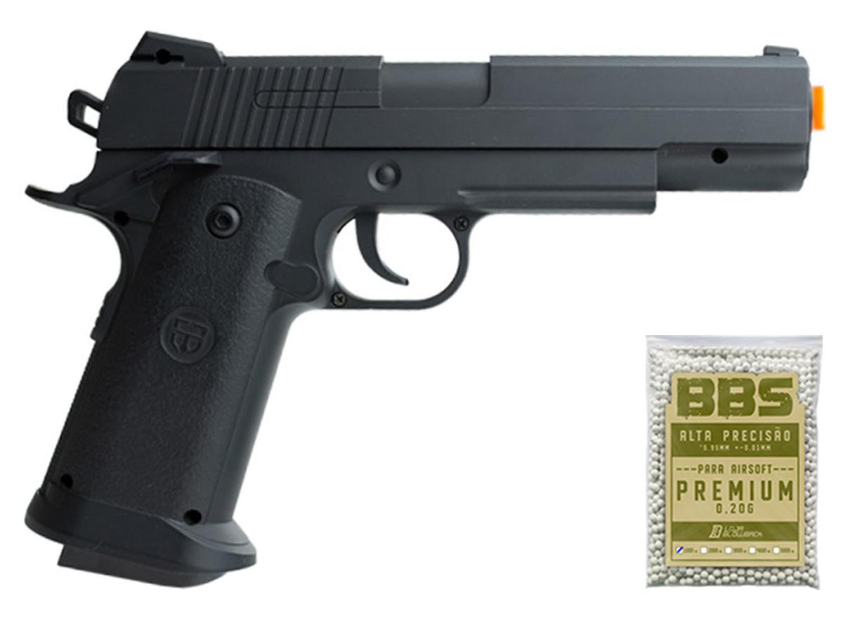 Pistola Airsoft 1911 V18 Full Metal Spring 6mm + 1000 Bbs 0,20g loja Blowback