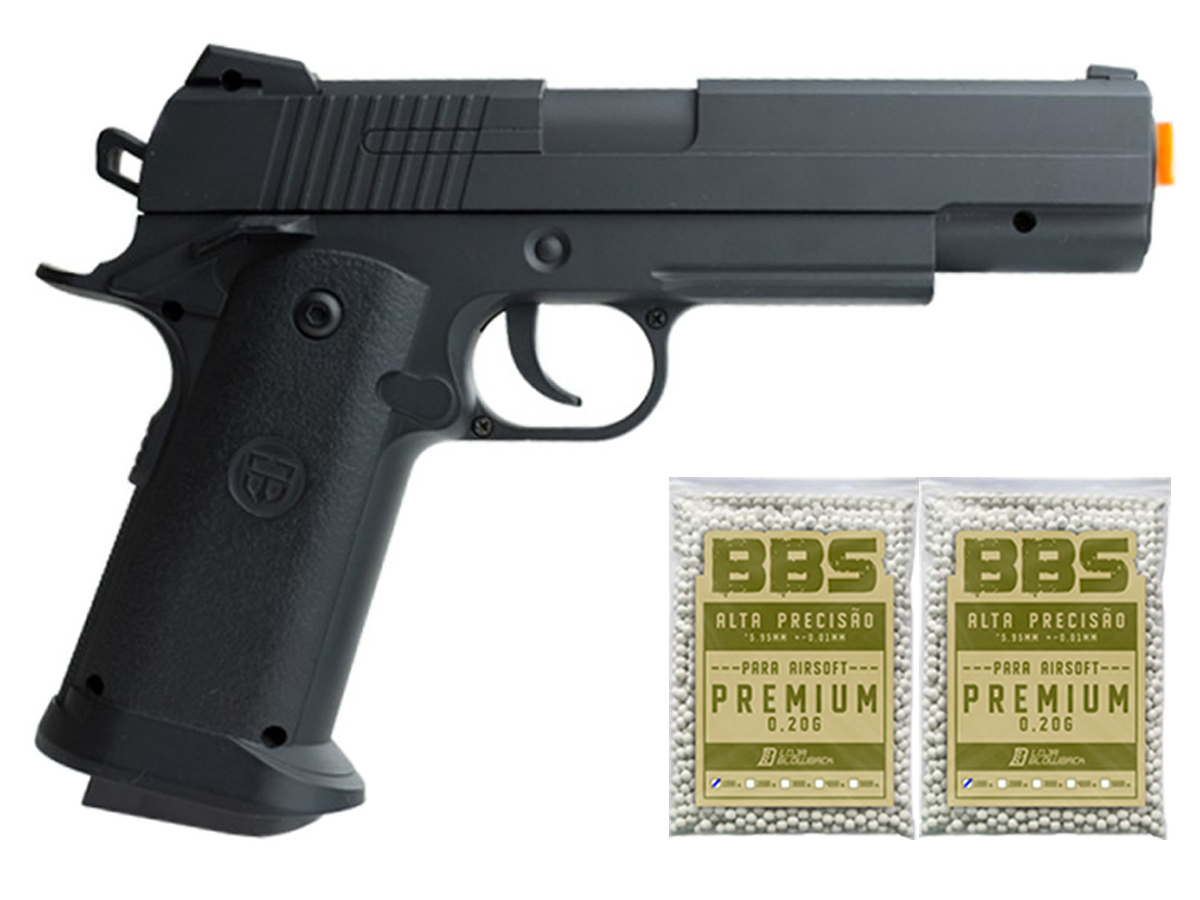 Pistola Airsoft 1911 V18 Full Metal Spring 6mm + 2000 Bbs 0,20g loja Blowback