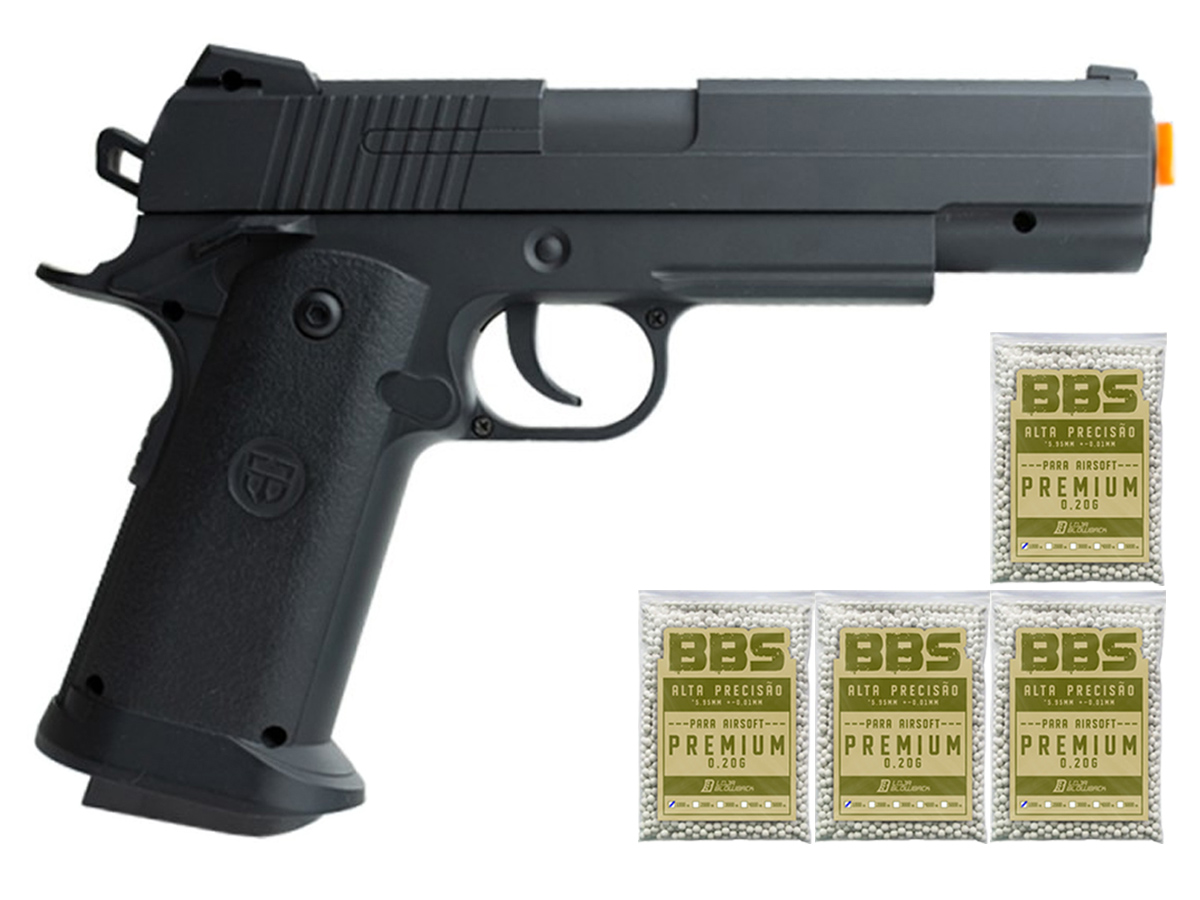 Pistola Airsoft 1911 V18 Full Metal Spring 6mm + 4000 Bbs 0,20g loja Blowback