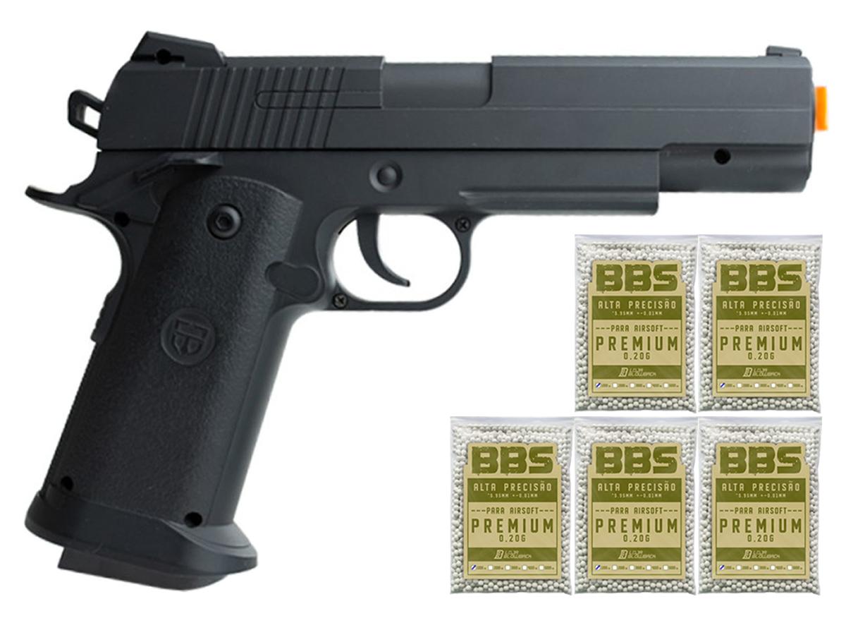 Pistola Airsoft 1911 V18 Full Metal Spring 6mm + 5000 Bbs 0,20g loja Blowback
