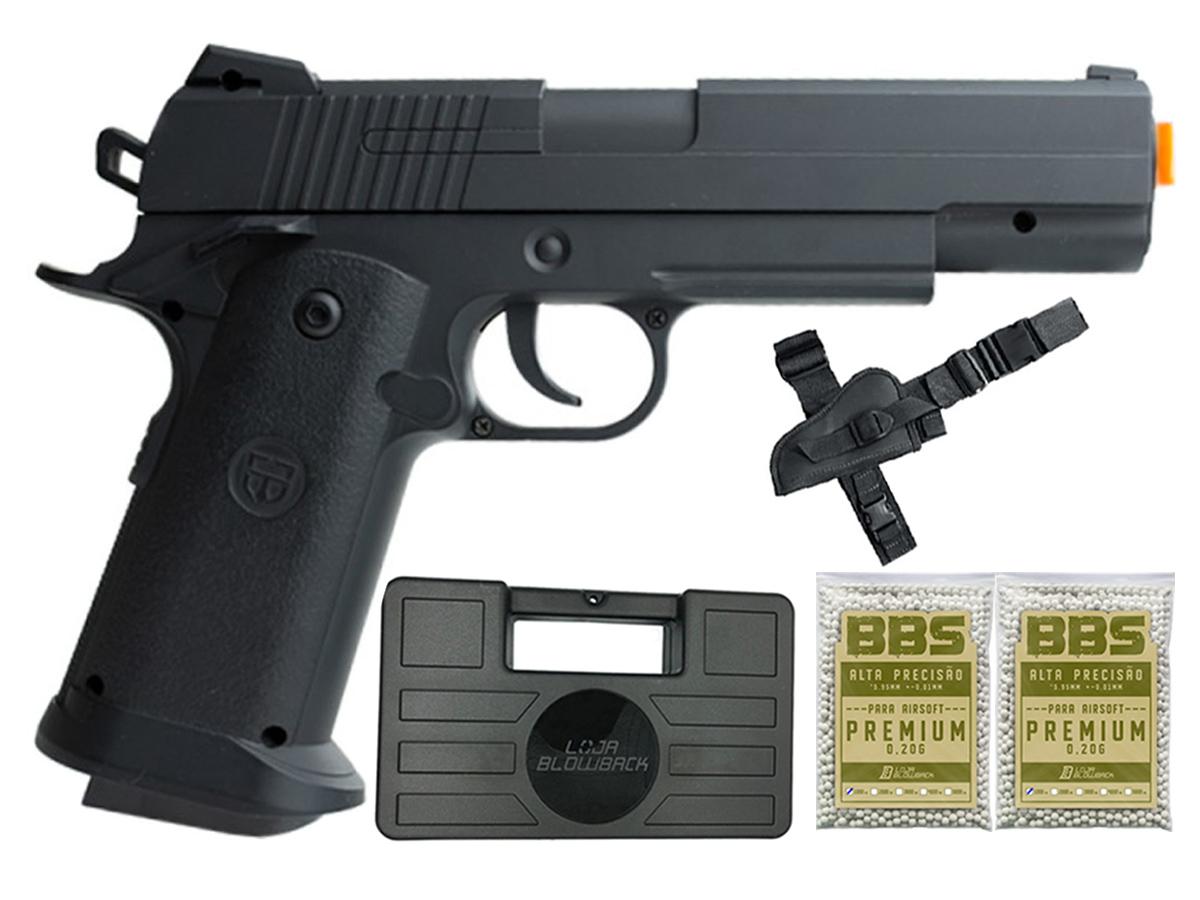Pistola Airsoft 1911 V18 Full Metal Spring 6mm + 2000 Bbs 0,20g loja Blowback + Maleta + Coldre robocop