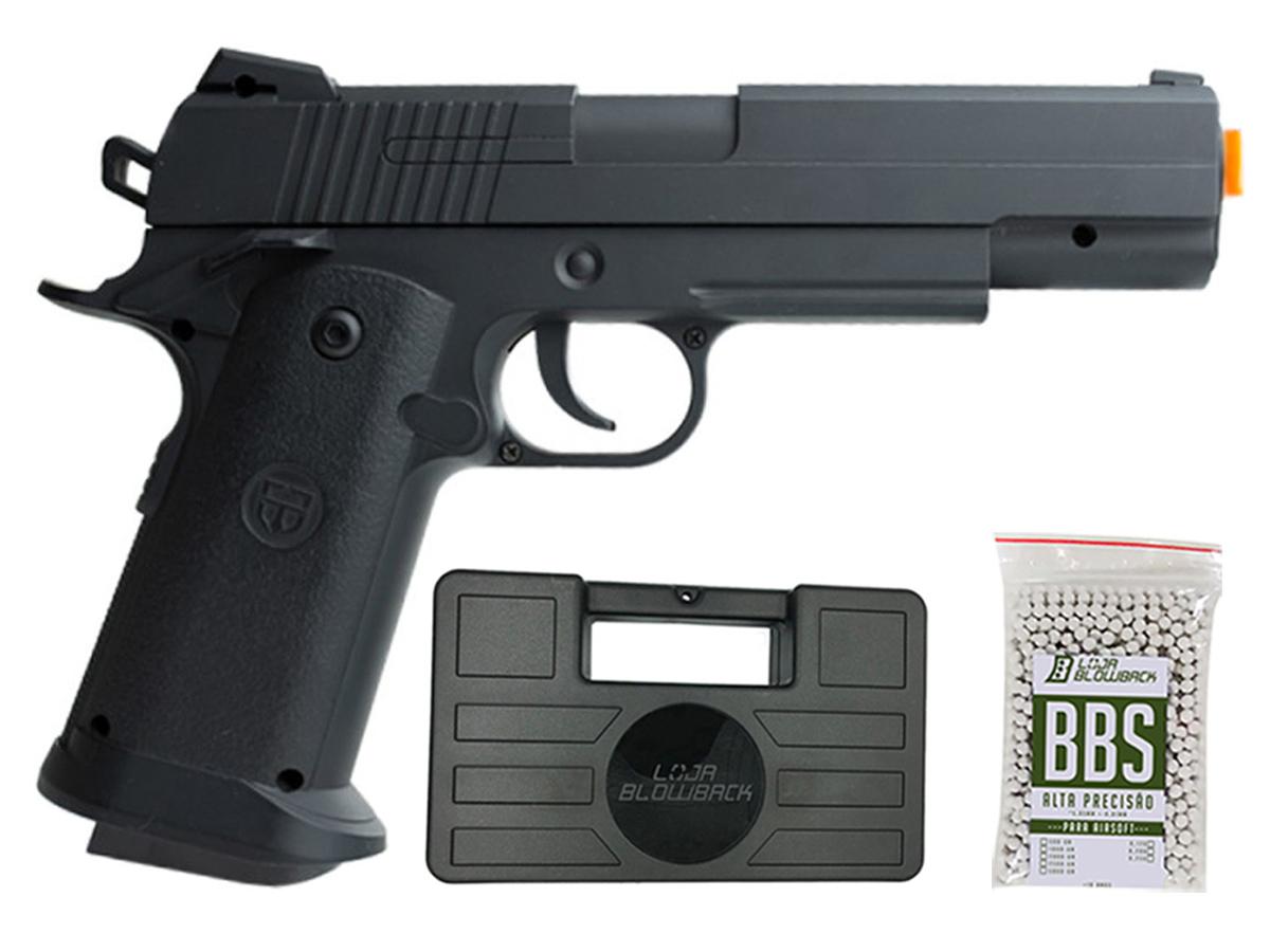 Pistola Airsoft 1911 V18 Full Metal Spring 6mm + 1000 Bbs 0,12g loja Blowback + Maleta