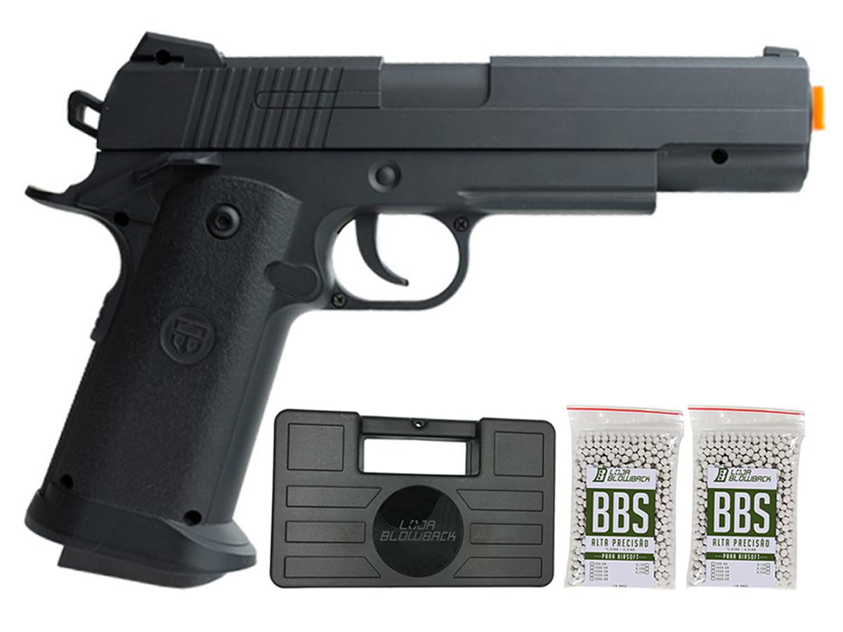 Pistola Airsoft 1911 V18 Full Metal Spring 6mm + 2000 Bbs 0,12g loja Blowback + Maleta