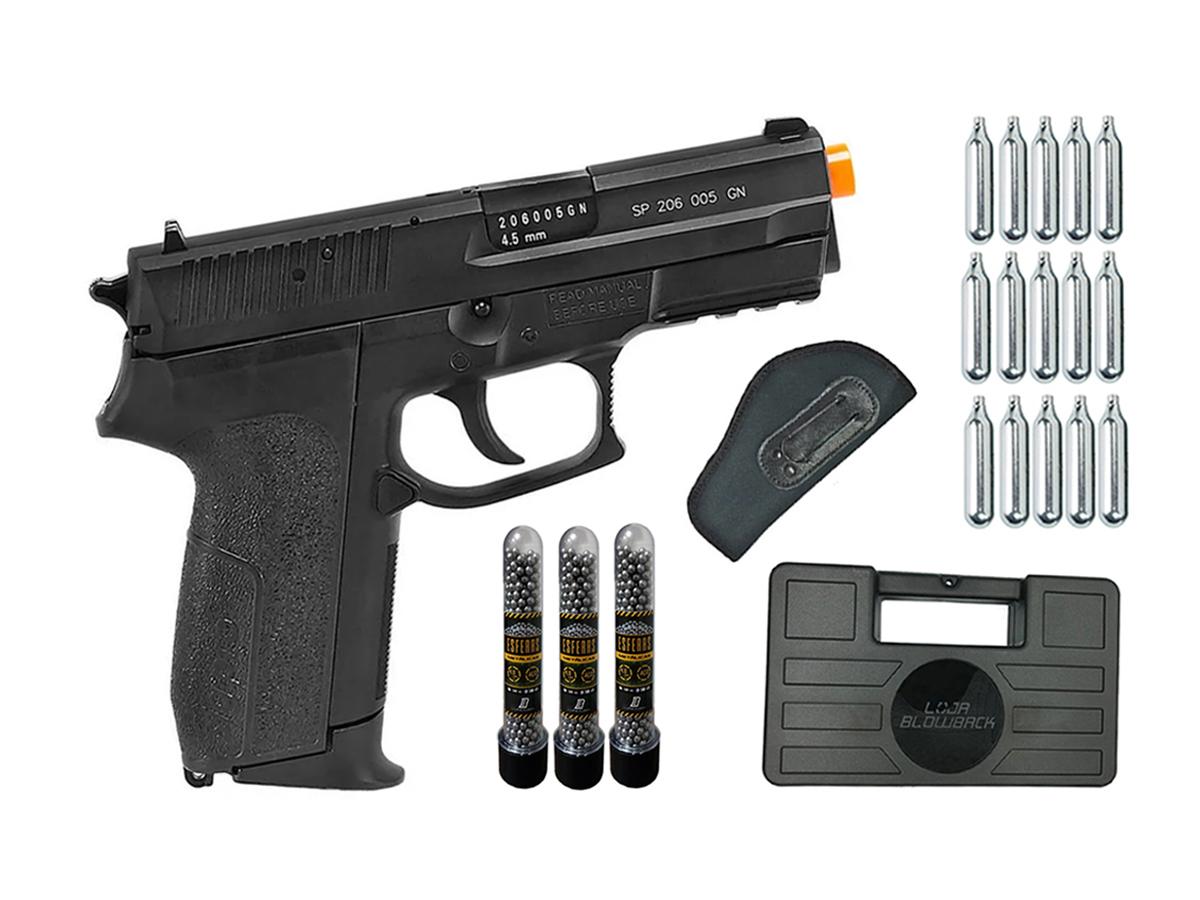 Pistola de Pressão Sig Sauer SP2022 Co2 Cybergun 4.5mm + 15 Cilindros de Co2 + 3 Pack com 500 Esferas de Aço 4,5mm loja Blowback + Coldre velado + Maleta loja Blowback