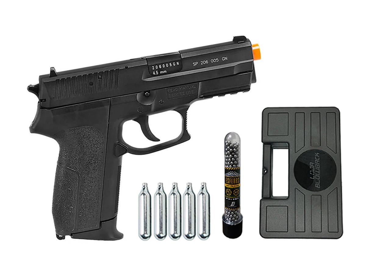 Pistola de Pressão Sig Sauer SP2022 Co2 Cybergun 4.5mm + 5 Cilindros de Co2 + 1 Pack com 500 Esferas de Aço 4,5mm loja Blowback + Maleta loja Blowback