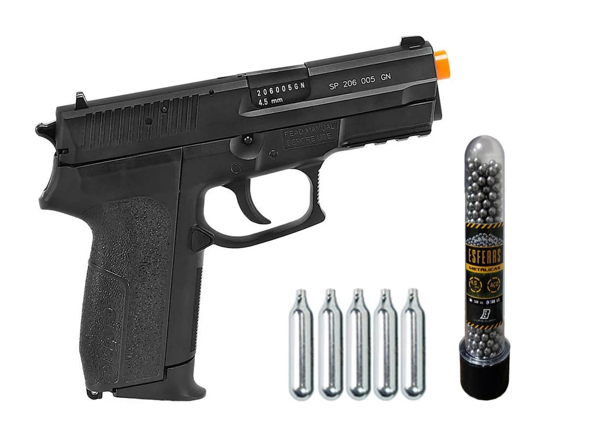 Pistola de Pressão Sig Sauer SP2022 Co2 Cybergun 4.5mm + 5 Cilindros de Co2 + 1 Pack com 500 Esferas de Aço 4,5mm loja Blowback