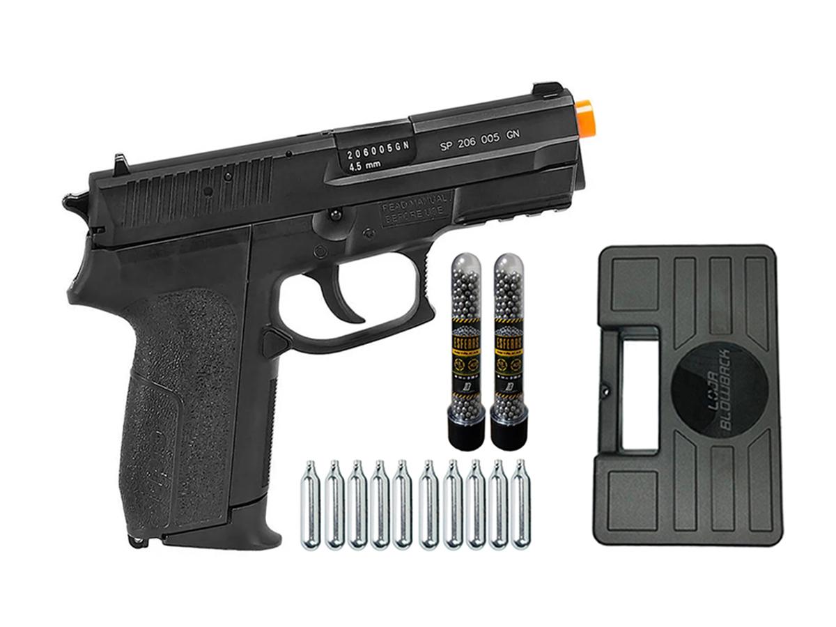 Pistola de Pressão Sig Sauer SP2022 Co2 Cybergun 4.5mm + 10 Cilindros de Co2 + 2 Pack com 500 Esferas de Aço 4,5mm loja Blowback + Maleta loja Blowback