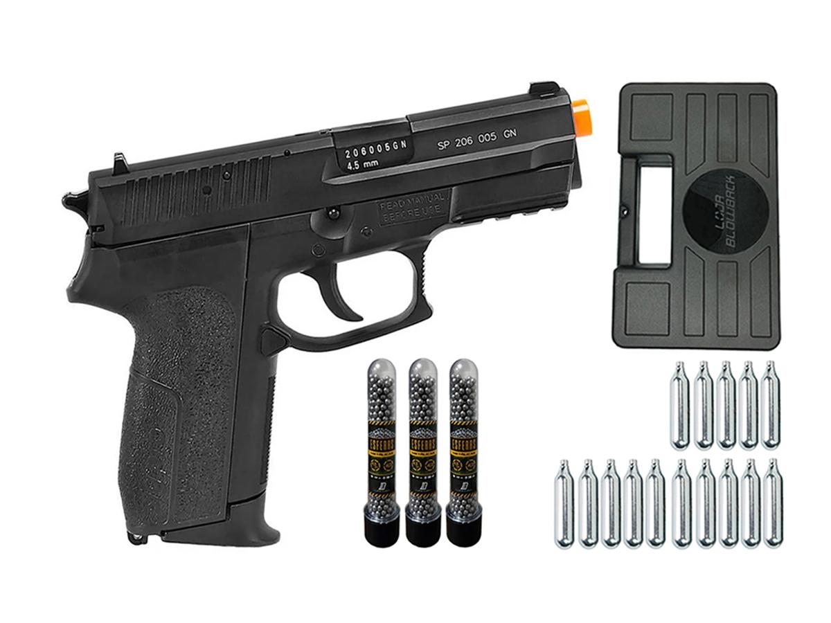 Pistola de Pressão Sig Sauer SP2022 Co2 Cybergun 4.5mm + 15 Cilindros de Co2 + 3 Pack com 500 Esferas de Aço 4,5mm loja Blowback + Maleta loja Blowback