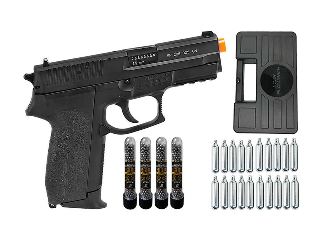 Pistola de Pressão Sig Sauer SP2022 Co2 Cybergun 4.5mm + 20 Cilindros de Co2 + 4 Pack com 500 Esferas de Aço 4,5mm loja Blowback + Maleta loja Blowback