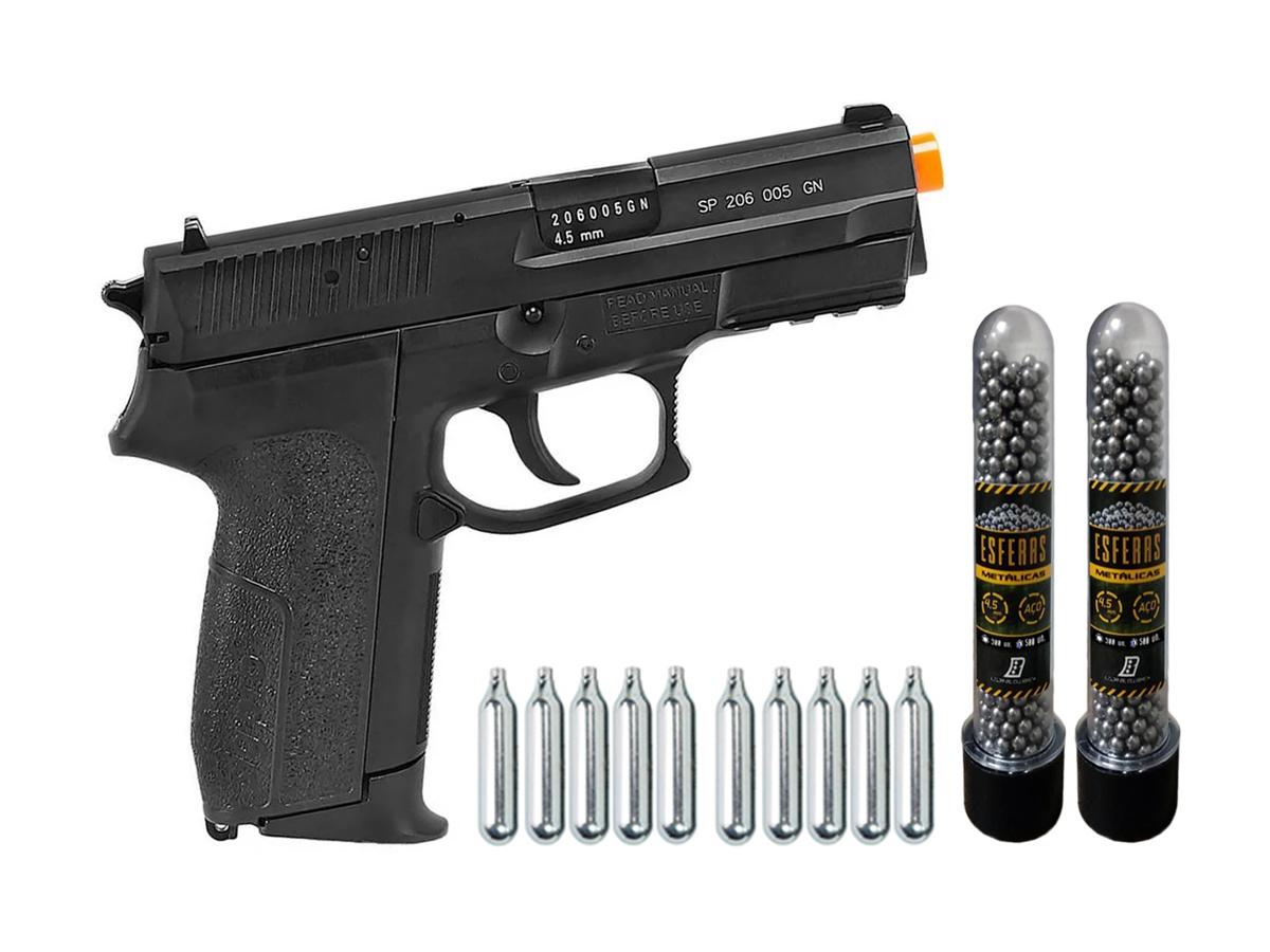 Pistola de Pressão Sig Sauer SP2022 Co2 Cybergun 4.5mm + 10 Cilindros de Co2 + 2 Pack com 500 Esferas de Aço 4,5mm loja Blowback