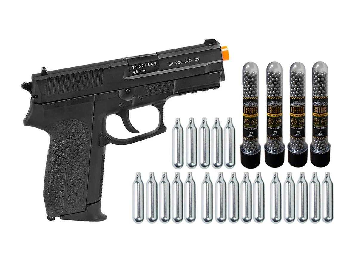 Pistola de Pressão Sig Sauer SP2022 Co2 Cybergun 4.5mm + 20 Cilindros de Co2 + 4 Pack com 500 Esferas de Aço 4,5mm loja Blowback