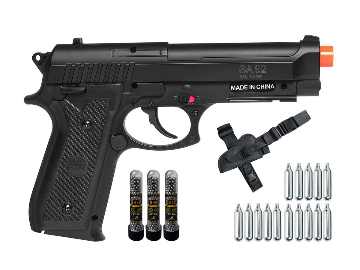 Pistola Airgun Co2 Swiss Arms PT92 Gnbb Cybergun 4,5mm K10