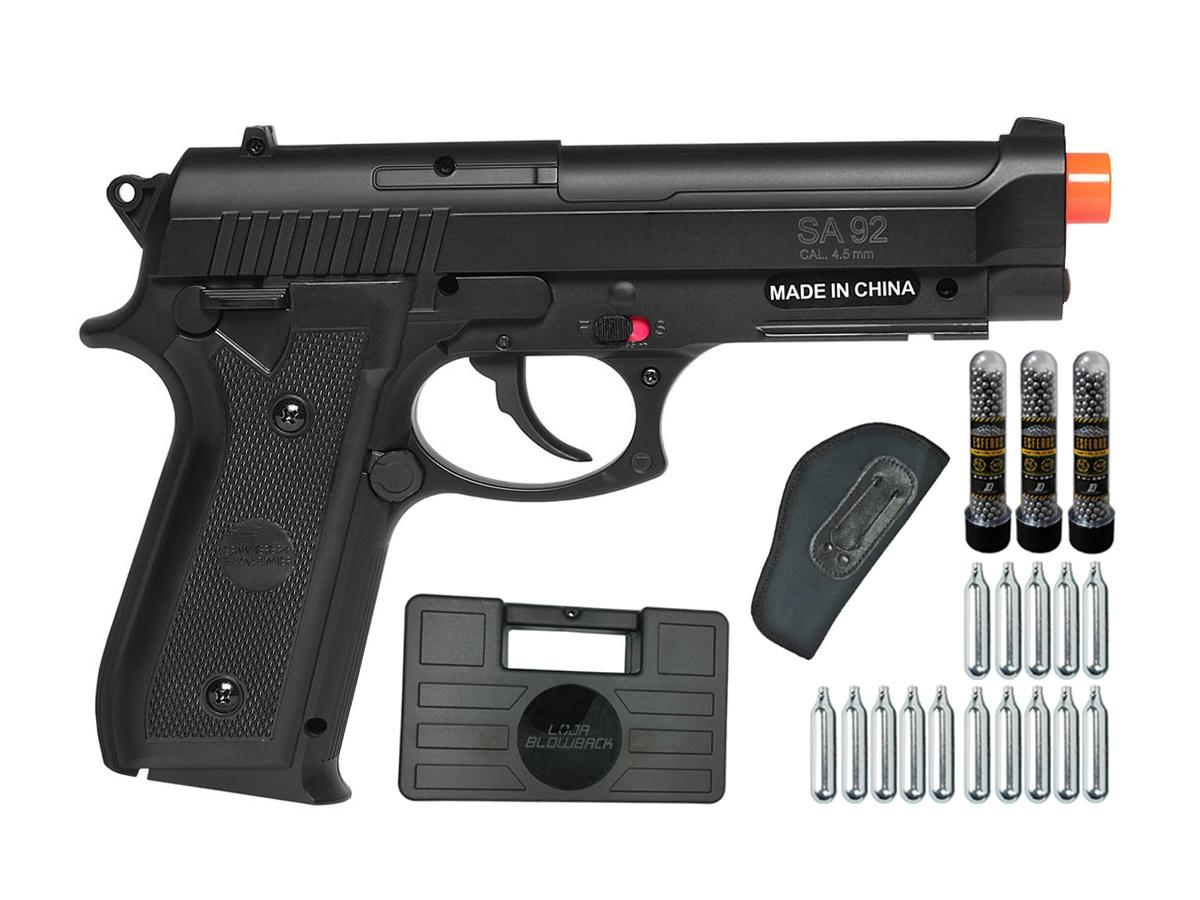 Pistola Airgun Co2 Swiss Arms PT92 Gnbb Cybergun 4,5mm + 15 Cilindros de Co2 + 3 Pack com 500 Esferas de Aço 4,5mm loja Blowback + Coldre velado + Maleta loja Blowback