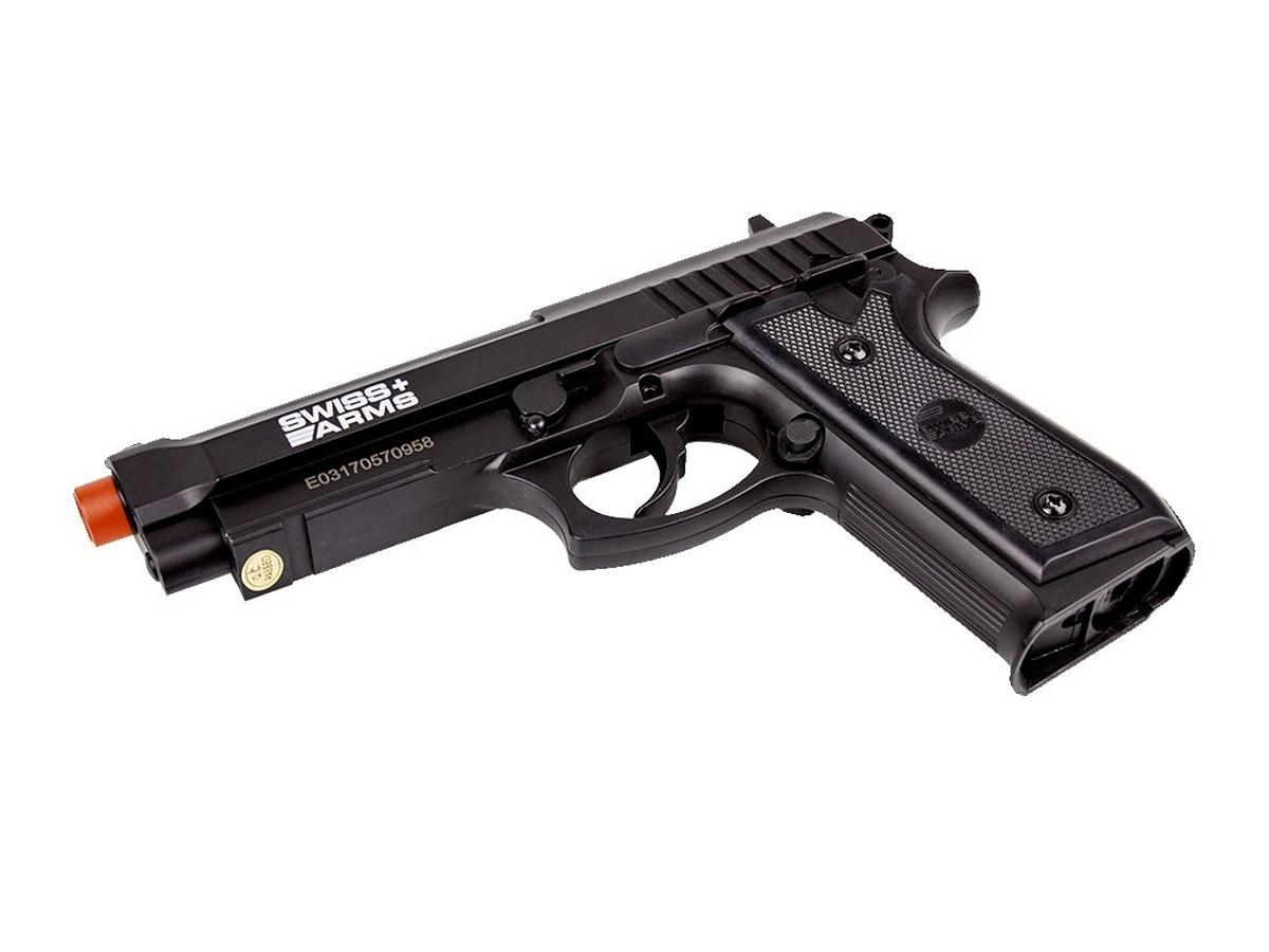 Pistola Airgun Co2 Swiss Arms PT92 Gnbb Cybergun 4,5mm + 10 Cilindros de Co2 + 2 Pack com 500 Esferas de Aço 4,5mm loja Blowback + Coldre robocop + Maleta loja Blowback