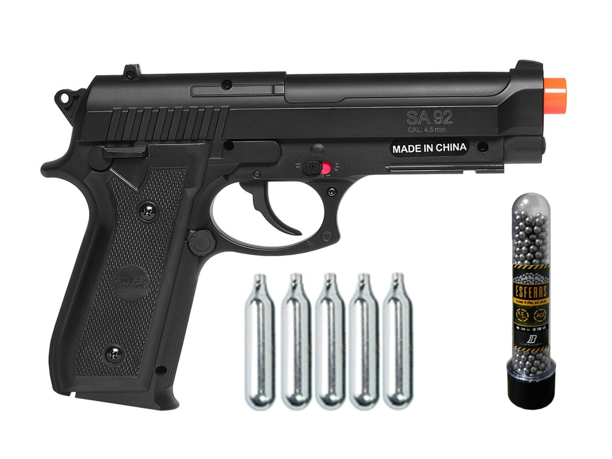 Pistola Airgun Co2 Swiss Arms PT92 Gnbb Cybergun 4,5mm + 5 Cilindros de Co2 + 1 Pack com 500 Esferas de Aço 4,5mm loja Blowback