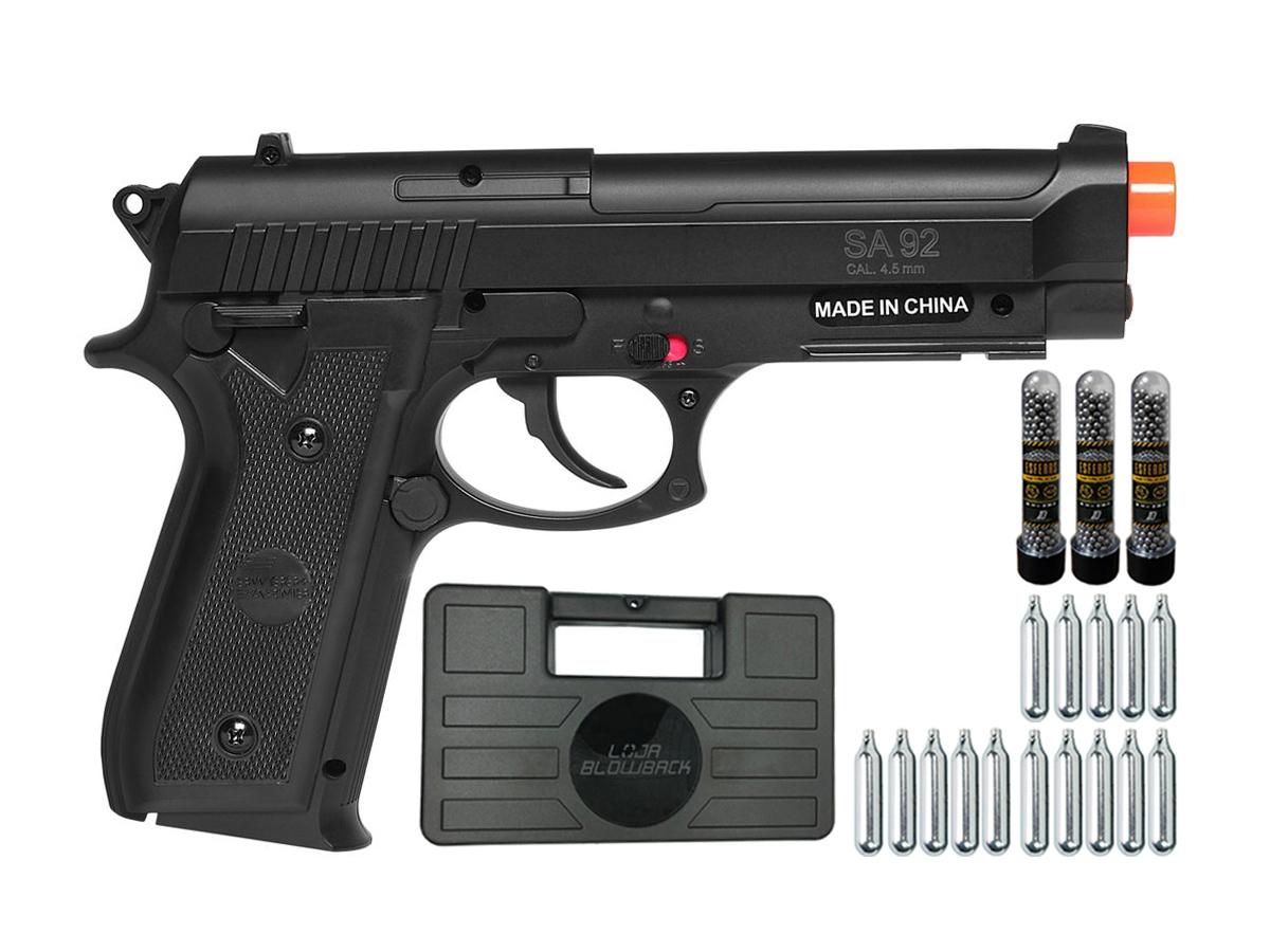 Pistola Airgun Co2 Swiss Arms PT92 Gnbb Cybergun 4,5mm + 15 Cilindros de Co2 + 3 Pack com 500 Esferas de Aço 4,5mm loja Blowback + Maleta loja Blowback