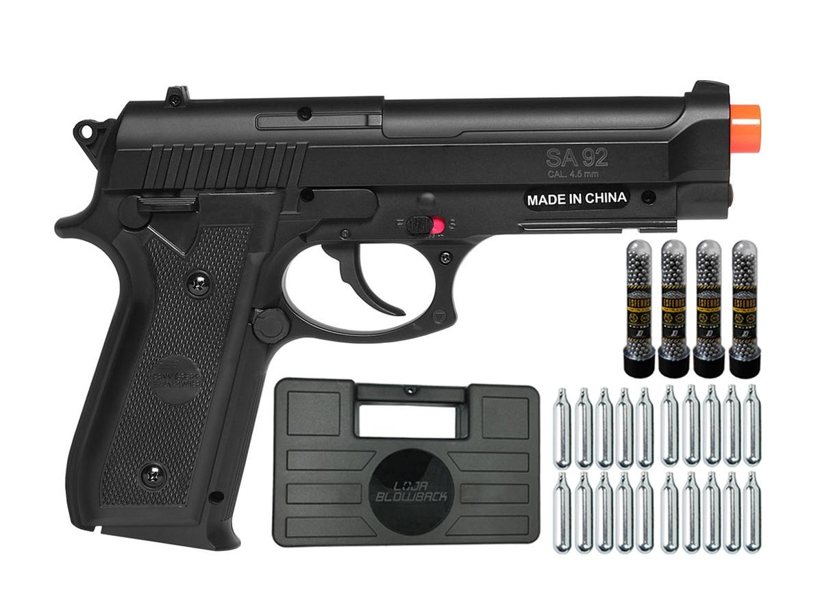 Pistola Airgun Co2 Swiss Arms PT92 Gnbb Cybergun 4,5mm + 20 Cilindros de Co2 + 4 Pack com 500 Esferas de Aço 4,5mm loja Blowback + Maleta loja Blowback