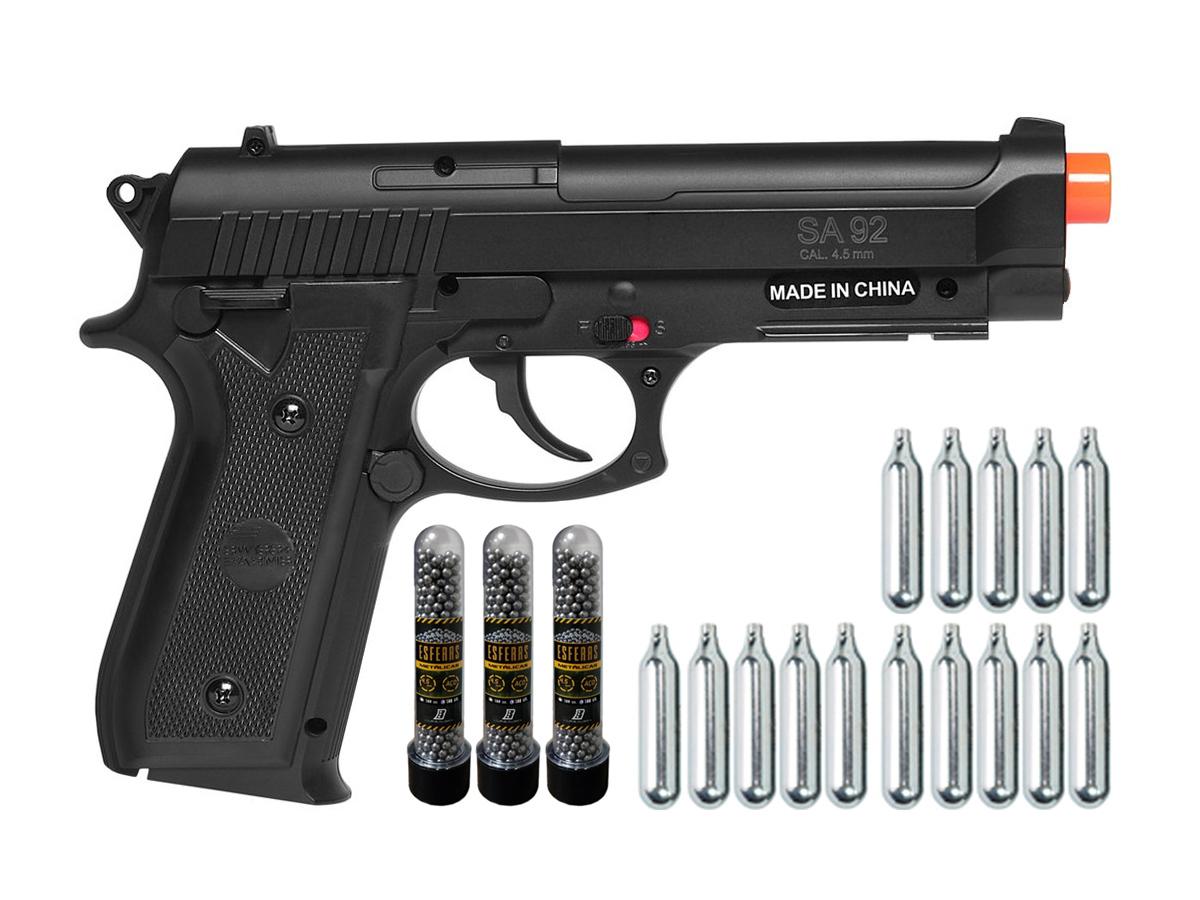 Pistola Airgun Co2 Swiss Arms PT92 Gnbb Cybergun 4,5mm + 15 Cilindros de Co2 + 3 Pack com 500 Esferas de Aço 4,5mm loja Blowback