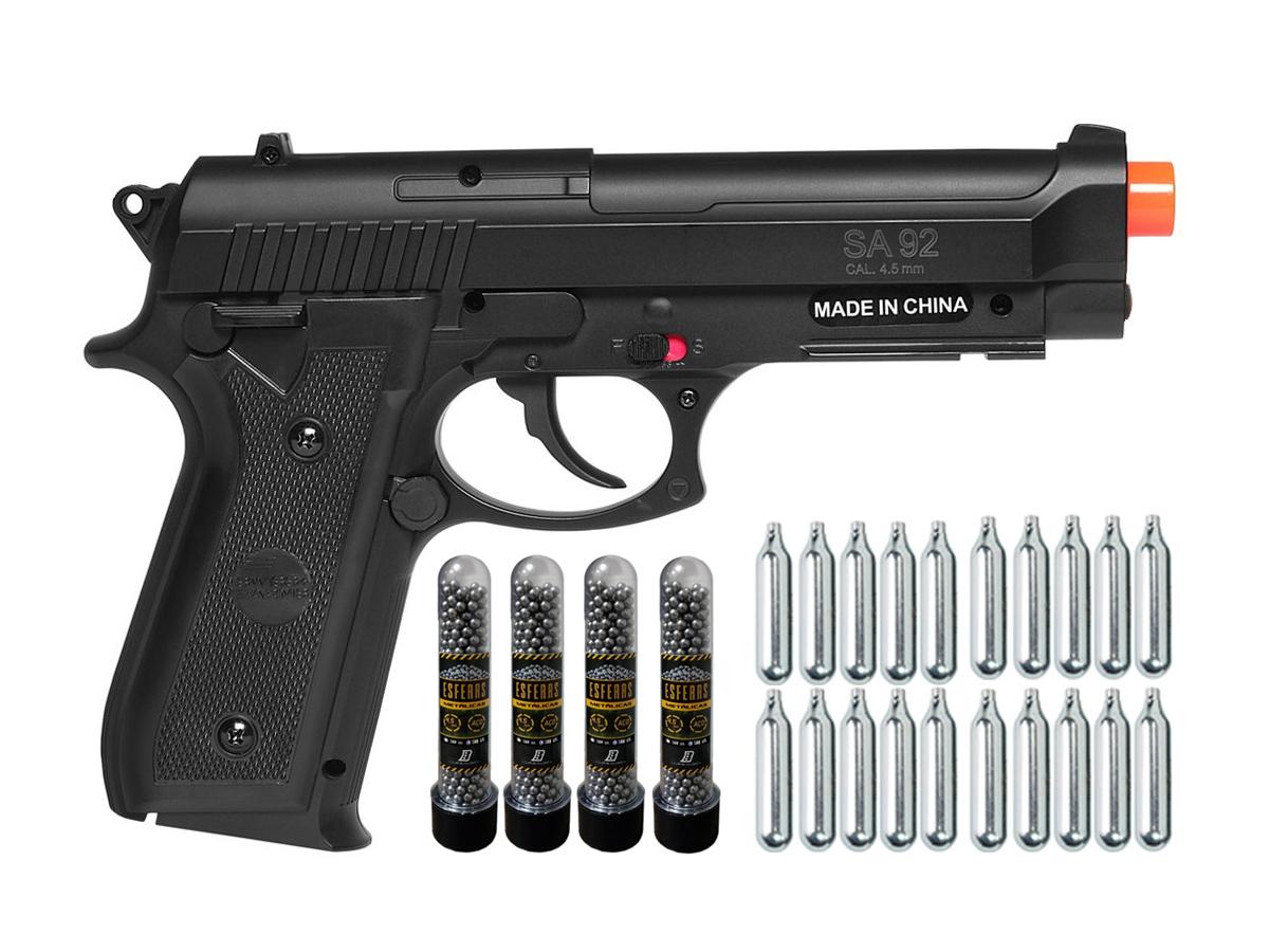 Pistola Airgun Co2 Swiss Arms PT92 Gnbb Cybergun 4,5mm + 20 Cilindros de Co2 + 4 Pack com 500 Esferas de Aço 4,5mm loja Blowback