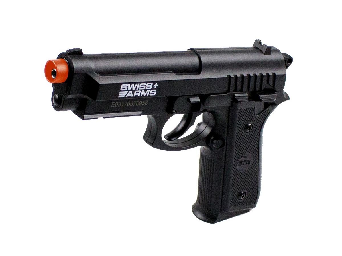 Pistola Airgun Co2 Swiss Arms PT92 Gnbb Cybergun 4,5mm + 5 Cilindros de Co2 + 1 Pack com 500 Esferas de Aço 4,5mm loja Blowback + Coldre velado