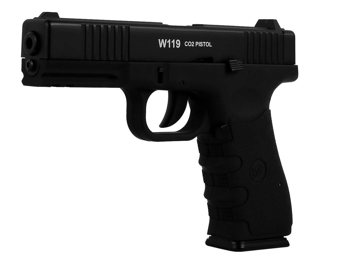 Pistola Airgun Gás Co2 Win Gun Glock W119 Blowback 4,5mm