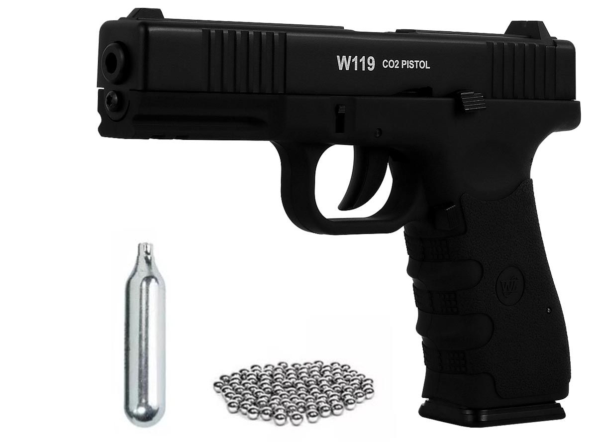 Pistola Airgun Gás Co2 Win Gun Glock W119 Blowback 4,5mm K2