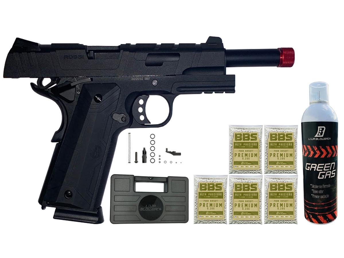 Pistola de Airsoft 1911 Gbb Slide Metal C/ Blowback Rossi 6mm + Green Gás loja Blowback + 5000 Bbs 0,20g loja Blowback + Maleta - 6 mm - Preto