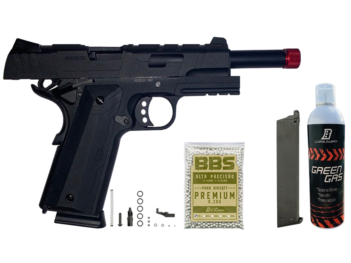 Pistola de Airsoft 1911 Gbb Slide Metal C/ Blowback Rossi 6mm + Green Gás loja Blowback + 1000 Bbs 0,20g loja Blowback + Magazine extra P/ 1911 Rossi Green Gás