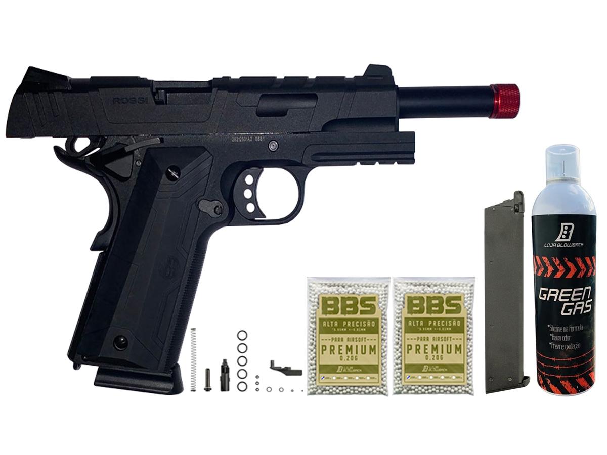 Pistola de Airsoft 1911 Gbb Slide Metal C/ Blowback Rossi 6mm + Green Gás loja Blowback + 2000 Bbs 0,20g loja Blowback + Magazine extra P/ 1911 Rossi Green Gás