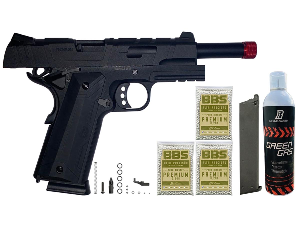Pistola de Airsoft 1911 Gbb Slide Metal C/ Blowback Rossi 6mm + Green Gás loja Blowback + 3000 Bbs 0,20g loja Blowback + Magazine extra P/ 1911 Rossi Green Gás
