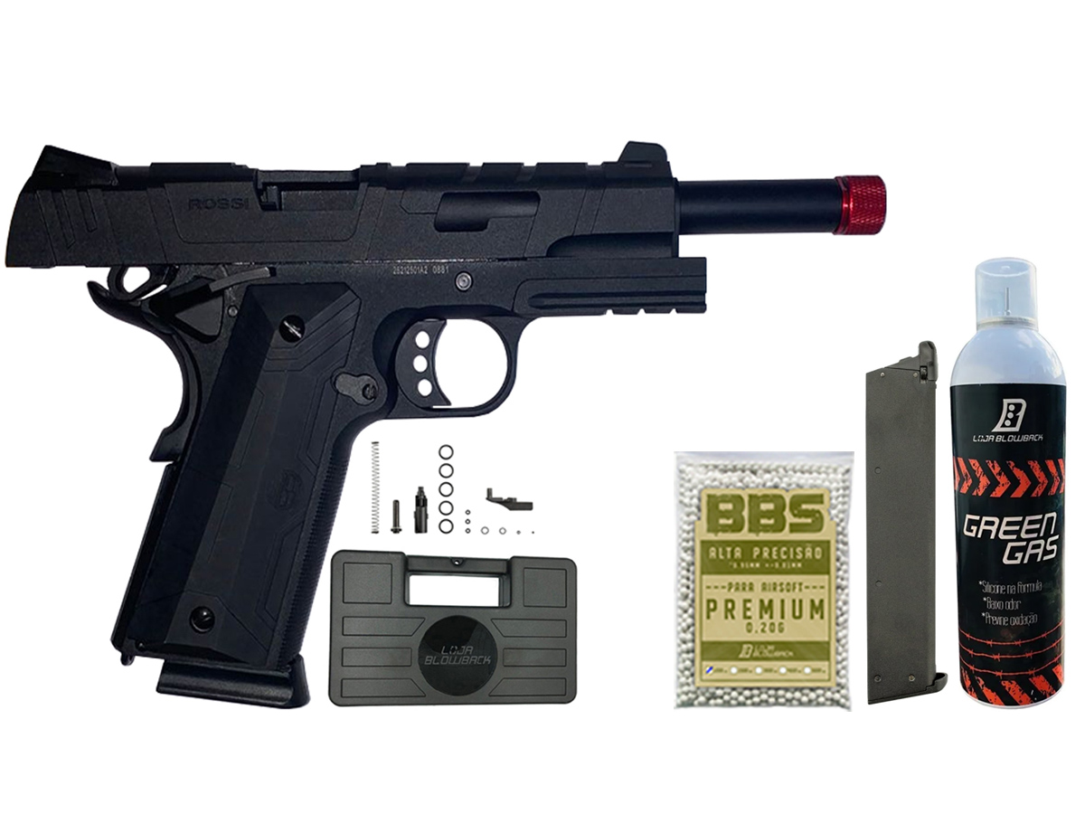 Pistola de Airsoft 1911 Gbb Slide Metal C/ Blowback Rossi 6mm + Green Gás loja Blowback + 1000 Bbs 0,20g loja Blowback + Magazine extra P/ 1911 Rossi Green Gás + Maleta