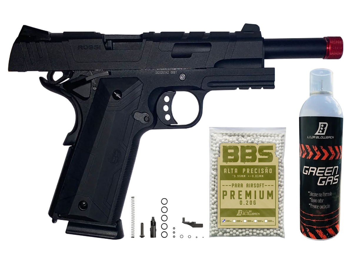 Pistola de Airsoft 1911 Gbb Slide Metal C/ Blowback Rossi 6mm + Green Gás loja Blowback + 1000 Bbs 0,20g loja Blowback