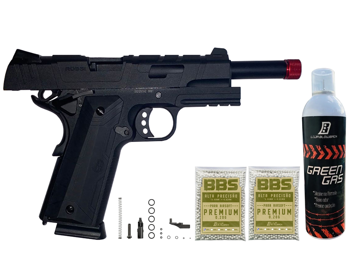 Pistola de Airsoft 1911 Gbb Slide Metal C/ Blowback Rossi 6mm + Green Gás loja Blowback + 2000 Bbs 0,20g loja Blowback