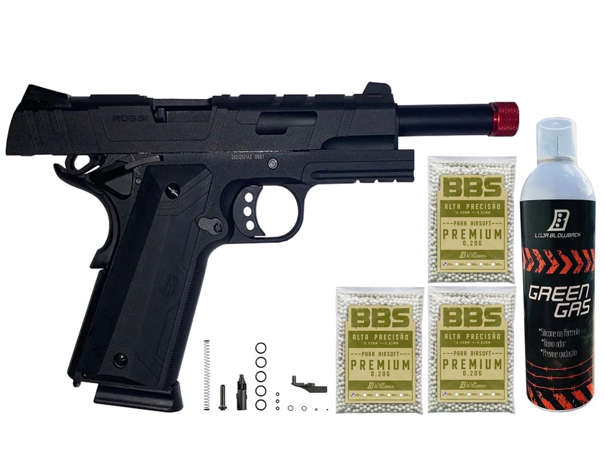Pistola de Airsoft 1911 Gbb Slide Metal C/ Blowback Rossi 6mm + Green Gás loja Blowback + 3000 Bbs 0,20g loja Blowback - 6 mm - Preto