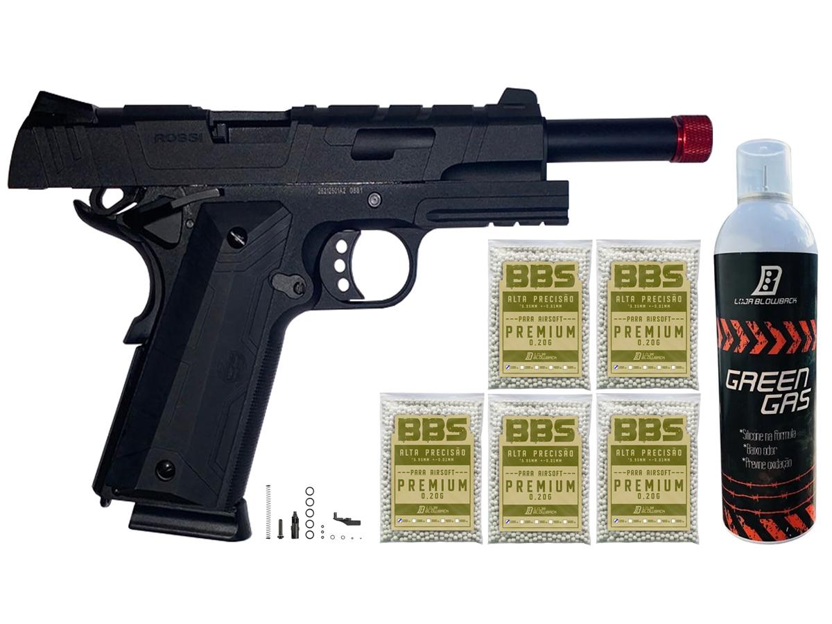 Pistola de Airsoft 1911 Gbb Slide Metal C/ Blowback Rossi 6mm + Green Gás loja Blowback + 5000 Bbs 0,20g loja Blowback - 6 mm - Preto