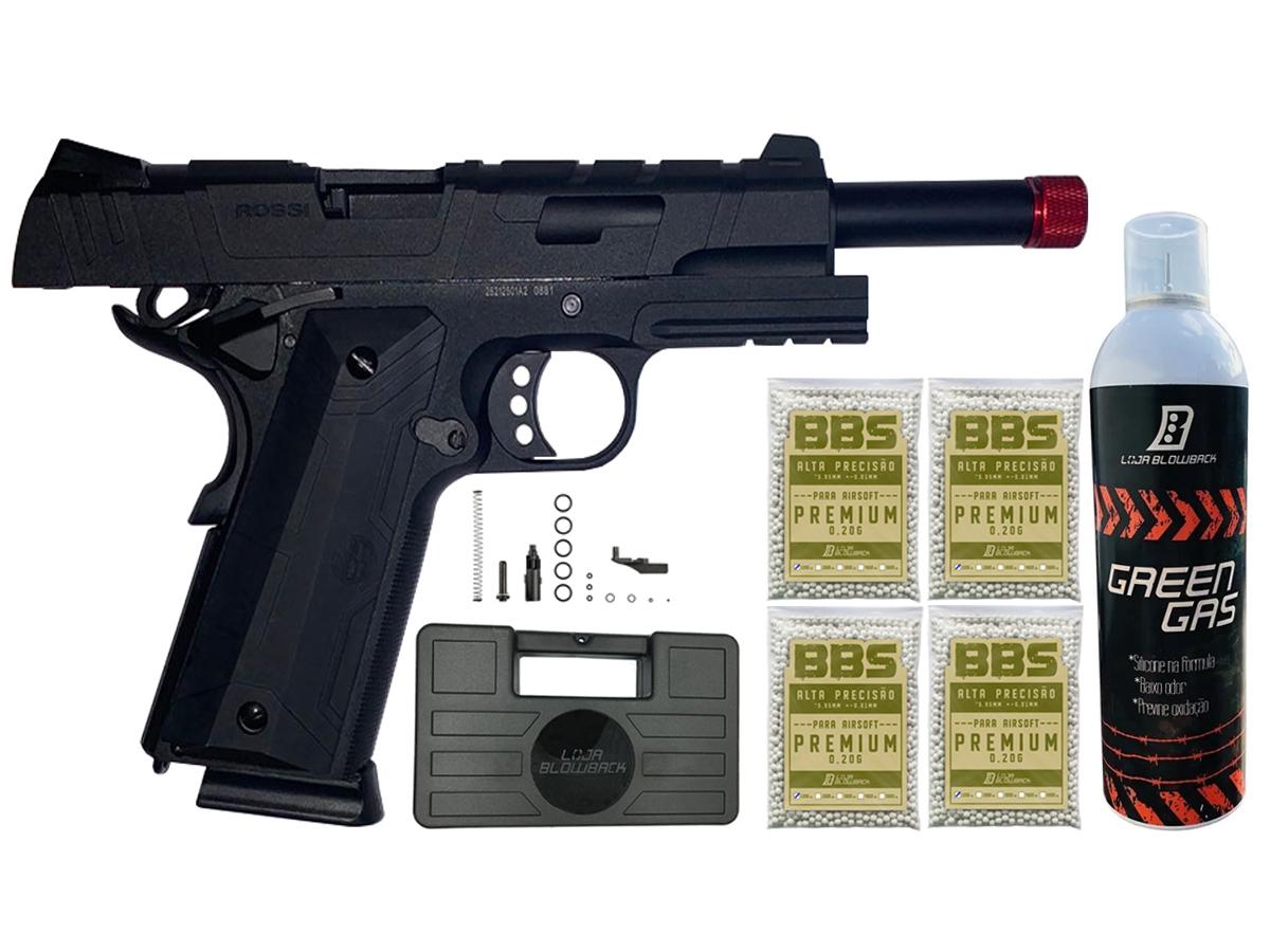 Pistola de Airsoft 1911 Gbb Slide Metal C/ Blowback Rossi 6mm + Green Gás loja Blowback + 4000 Bbs 0,20g loja Blowback + Maleta - 6 mm - Preto